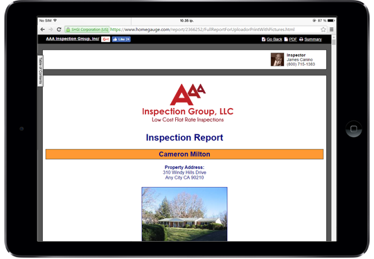 AAA Inspection Group Sample Inspection Report